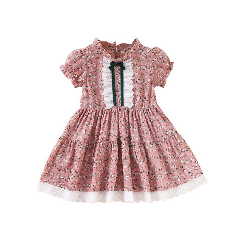 kiskissing wholesale kid girl floral puff sleeve dress